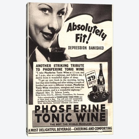 1930s Phospherine Tonic Wine Magazine Ad Canvas Print #TAA386} by The Advertising Archives Canvas Art Print