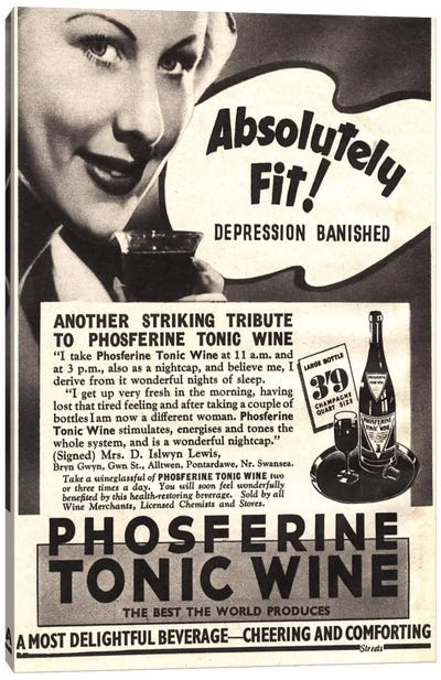 1930s Phospherine Tonic Wine Magazine Ad Canvas Art Print