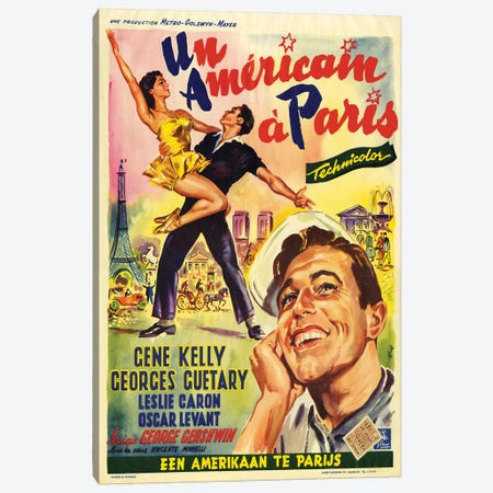 1951 An American In Paris Movie Poster Canvas Print #TAA430} by The Advertising Archives Canvas Artwork
