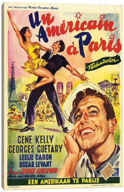 1951 An American In Paris Movie Poster Canvas Art Print