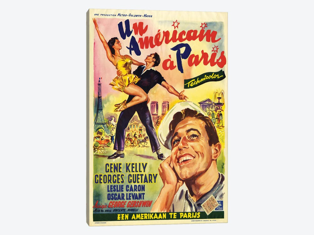 1951 An American In Paris Movie Poster by The Advertising Archives 1-piece Canvas Print