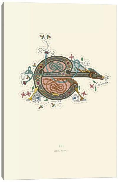 E Celtic Initial Canvas Art Print