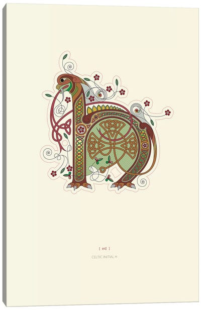 H Celtic Initial Canvas Art Print