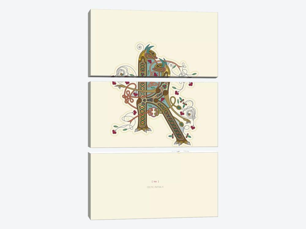 K Celtic Initial by Thoth Adan 3-piece Canvas Artwork