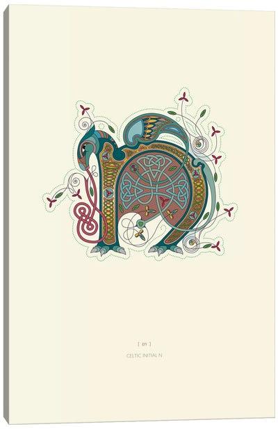 N Celtic Initial Canvas Art Print