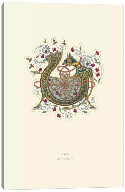 V Celtic Initial Canvas Art Print
