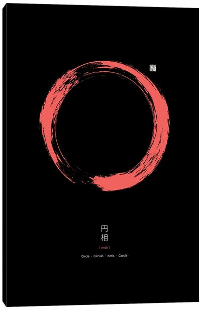 Red Enso On Black Background Canvas Art Print