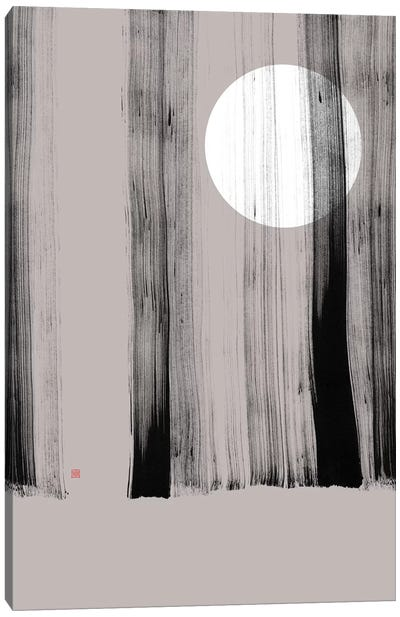 Hidden Moon I (Behind The Trees) Canvas Art Print