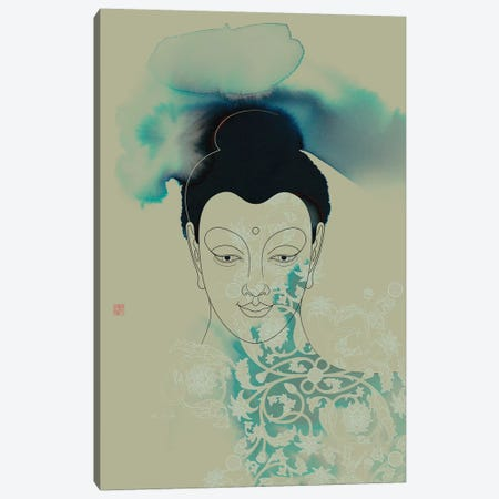 Blue Buddha Shakyamuni Canvas Print #TAD14} by Thoth Adan Canvas Artwork