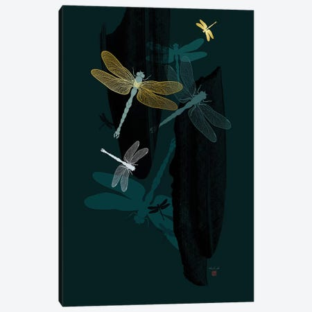Midnight Dragonflies Canvas Print #TAD72} by Thoth Adan Canvas Print