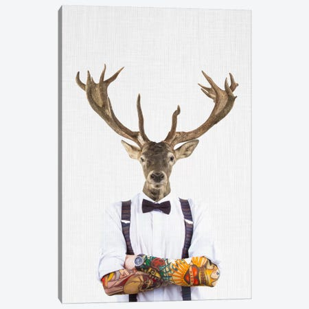 Deer Man Canvas Print #TAI4} by Tai Prints Canvas Artwork
