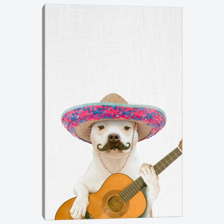 Dog Guitarist Canvas Print #TAI5} by Tai Prints Canvas Art