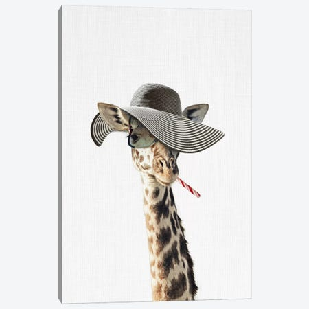 Giraffe Dressed In A Hat Canvas Print #TAI6} by Tai Prints Canvas Artwork