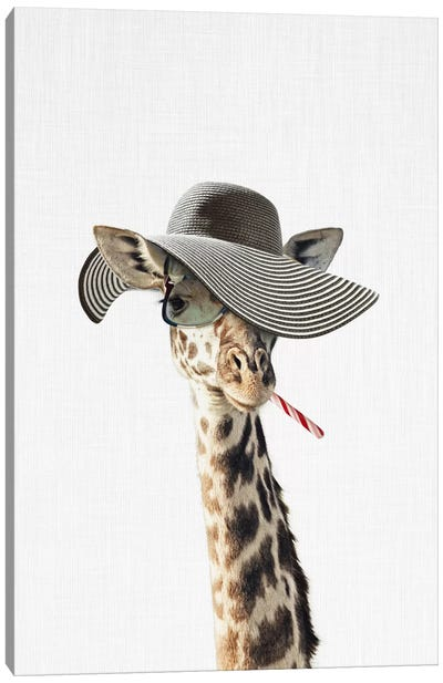 Giraffe Dressed In A Hat Canvas Art Print
