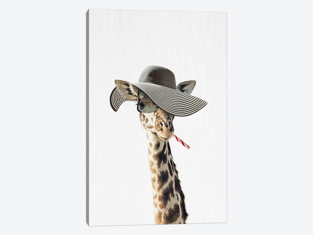 Giraffe Dressed In A Hat by Tai Prints 1-piece Art Print