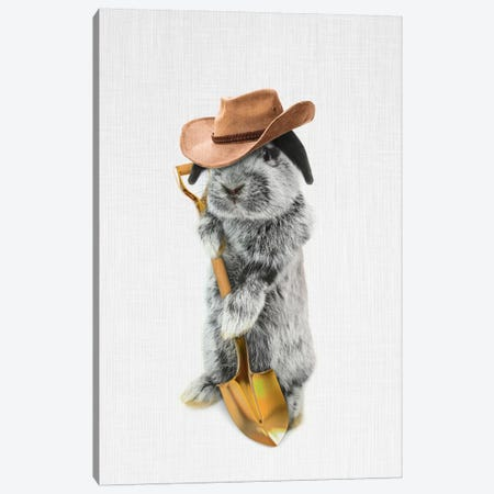 Rabbit Farmer Canvas Print #TAI9} by Tai Prints Canvas Print