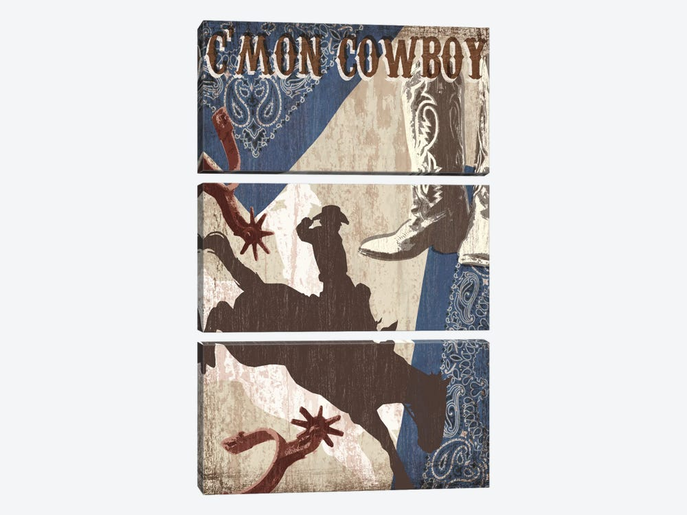 C'mon Cowboy 3-piece Canvas Art Print