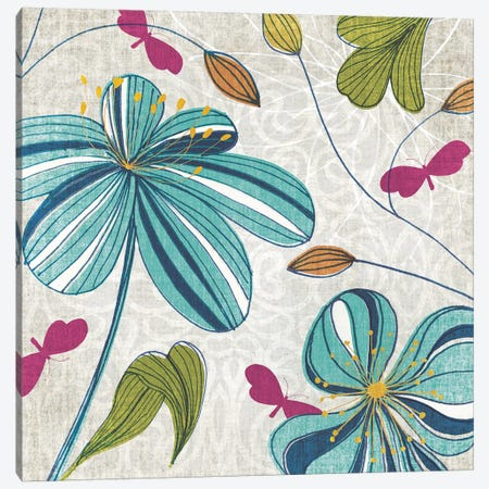 Flowers & Butterflies Canvas Print #TAN80} by Tandi Venter Canvas Art