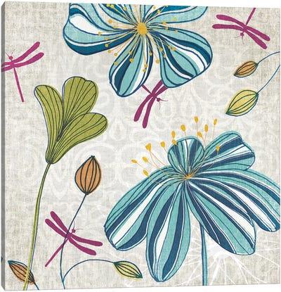Flowers & Dragonflies Canvas Print #TAN81