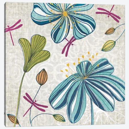 Flowers & Dragonflies Canvas Print #TAN81} by Tandi Venter Canvas Artwork