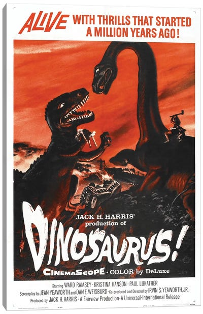 Dinosaurus! (1960) Movie Poster Canvas Art Print
