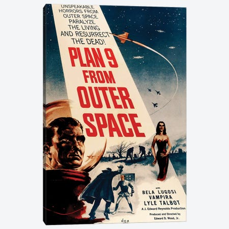 Ed Wood's Plan 9 From Outer Space (1959) Movie Poster Canvas Print #TAP12} by Top Art Portfolio Canvas Art Print