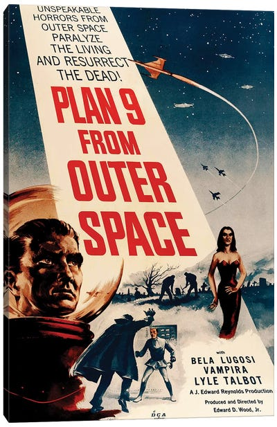 Ed Wood's Plan 9 From Outer Space (1959) Movie Poster Canvas Art Print