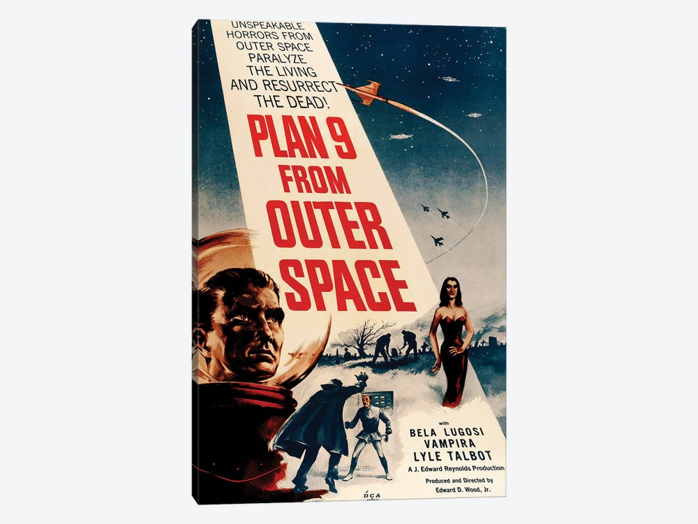 Ed Wood's Plan 9 From Outer Space (1959) Movie Poster by Top Art Portfolio 1-piece Canvas Wall Art