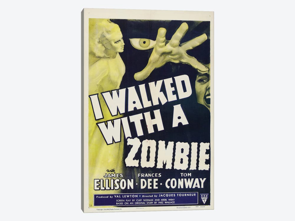 I Walked With A Zombie (1943) Movie Poster by Top Art Portfolio 1-piece Canvas Art Print