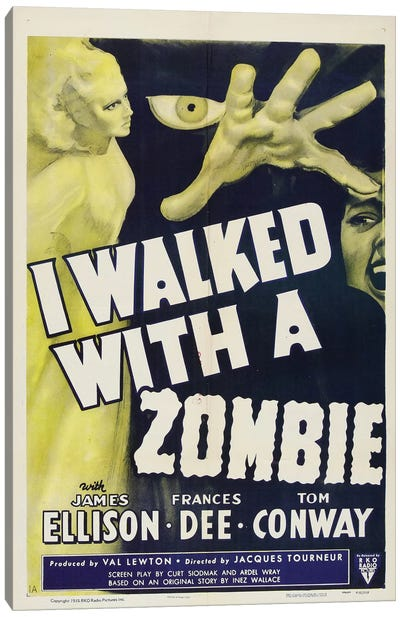 I Walked With A Zombie (1943) Movie Poster Canvas Art Print