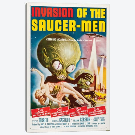 Invasion Of The Saucer-Men (1957) Movie Poster Canvas Print #TAP19} by Top Art Portfolio Canvas Art Print