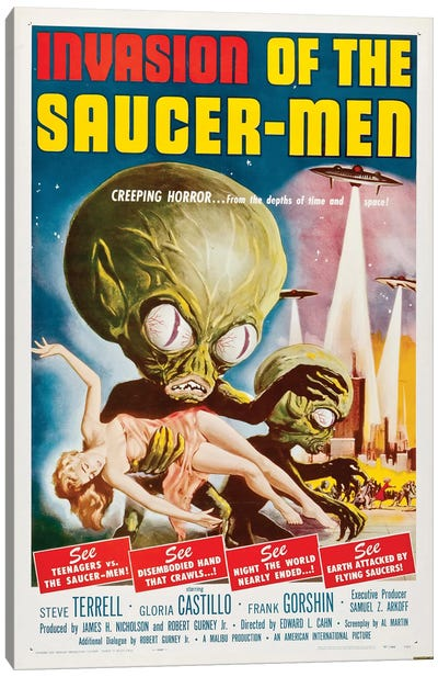 Invasion Of The Saucer-Men (1957) Movie Poster Canvas Art Print