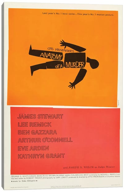 Anatomy Of A Murder (1959) Movie Poster Canvas Art Print
