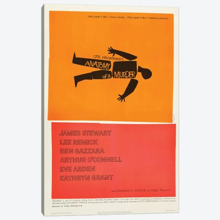 Anatomy Of A Murder (1959) Movie Poster Canvas Print #TAP1} by Top Art Portfolio Canvas Print