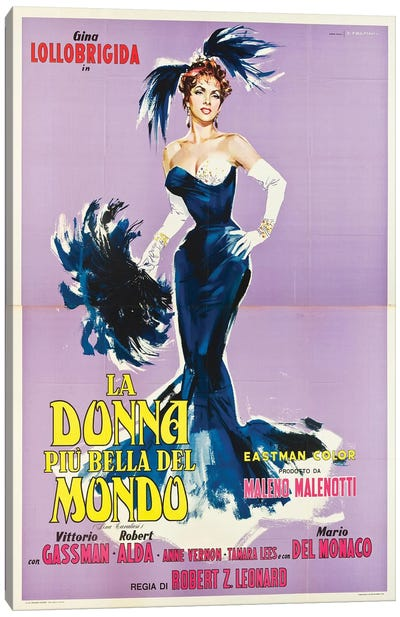 La Donna Piu Bella Del Mondo Starring Gina Lollobrigida (1955) Movie Poster Canvas Art Print