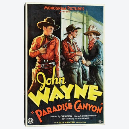 Paradise Canyon Starring John Wayne (1935) Movie Poster Canvas Print #TAP22} by Top Art Portfolio Canvas Wall Art