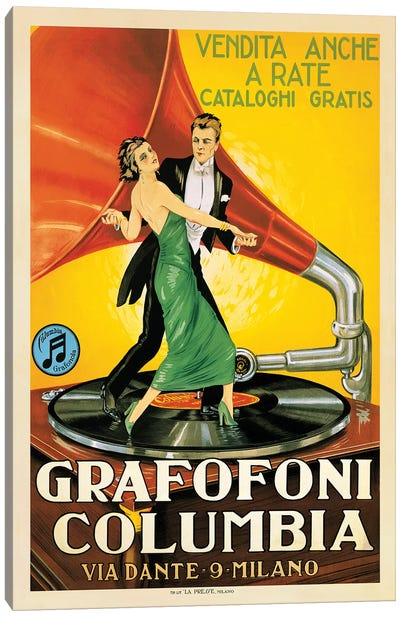 Grafofoni Columbia, 1920 Ca. Canvas Art Print