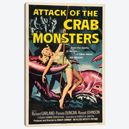Attack Of The Crab Monsters (1957) Movie Poster Canvas Print #TAP3} by Top Art Portfolio Art Print