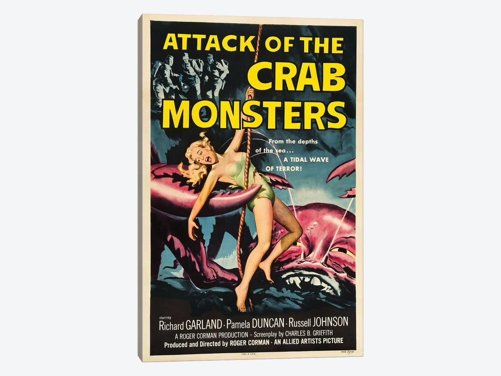 Attack Of The Crab Monsters (1957) Movie Poster by Top Art Portfolio 1-piece Canvas Art Print