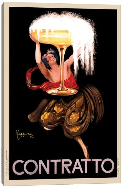 Contratto Alcoholic Beverages Vintage Print Canvas Art Print