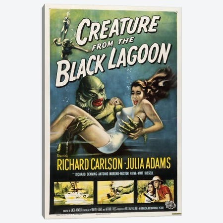 Creature From The Black Lagoon (1954) Movie Poster Canvas Print #TAP8} by Top Art Portfolio Canvas Art Print