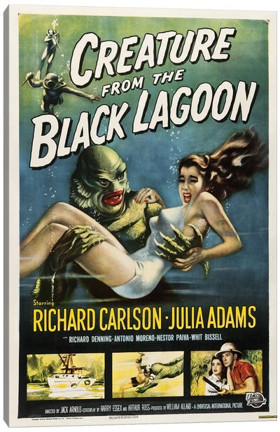 Creature From The Black Lagoon (1954) Movie Poster Canvas Art Print