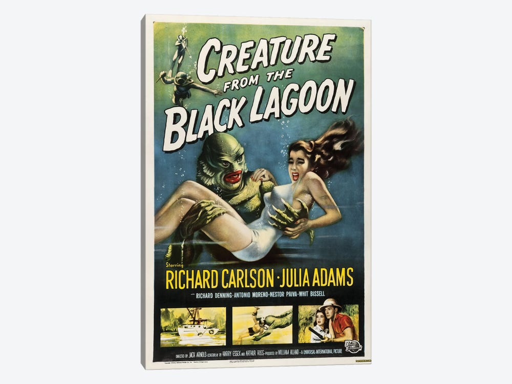 Creature From The Black Lagoon (1954) Movie Poster by Top Art Portfolio 1-piece Canvas Art