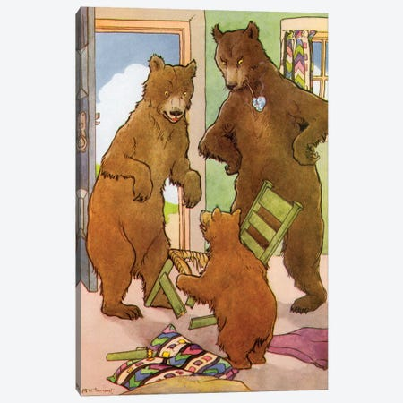 Goldilocks & The Three Bears II Canvas Print #TAR5} by Margaret Tarrant Canvas Art
