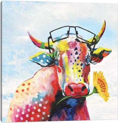 Groovy Cow and Sky Canvas Art Print