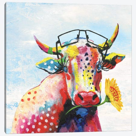 Groovy Cow and Sky Canvas Print #TAV102} by Tava Studios Canvas Artwork