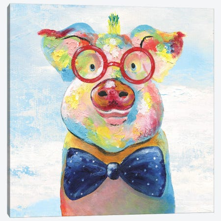 Groovy Pig and Sky Canvas Print #TAV106} by Tava Studios Canvas Art Print