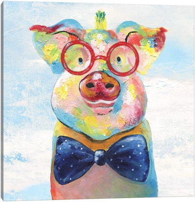 Groovy Pig and Sky Canvas Art Print