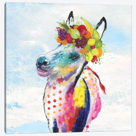 Groovy Horse with Wreath and Sky Canvas Print #TAV112} by Tava Studios Art Print