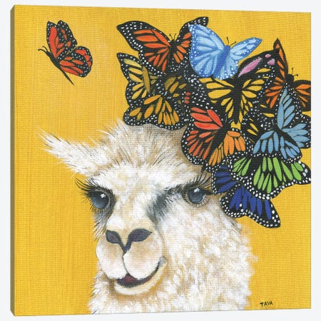 Llama and Butterflies Canvas Print #TAV115} by Tava Studios Canvas Art